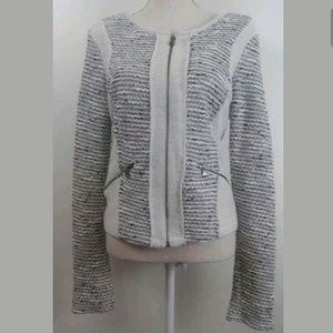 Drew sweater Jacket Beige Black Full Zip Size M